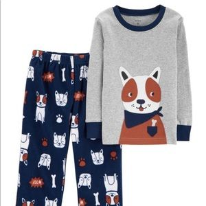 2-Piece Dog Snug Fit Cotton & Fleece PJs